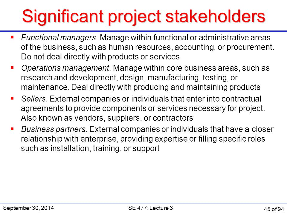 Significant project stakeholders
