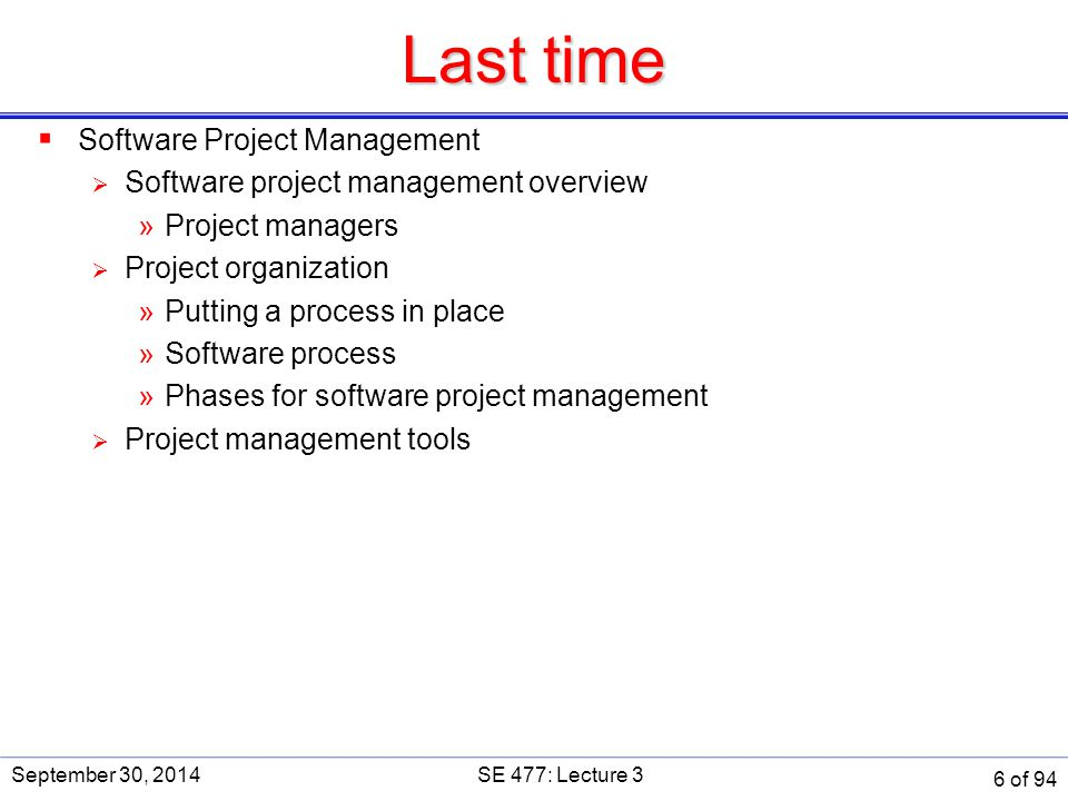 Last time Software Project Management