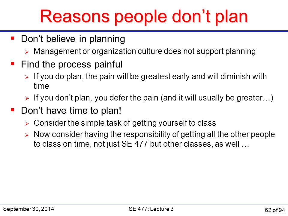 Reasons people don't plan