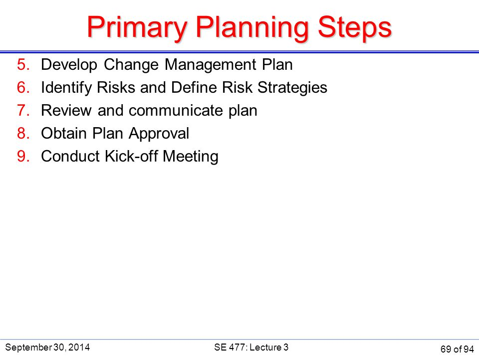 Primary Planning Steps