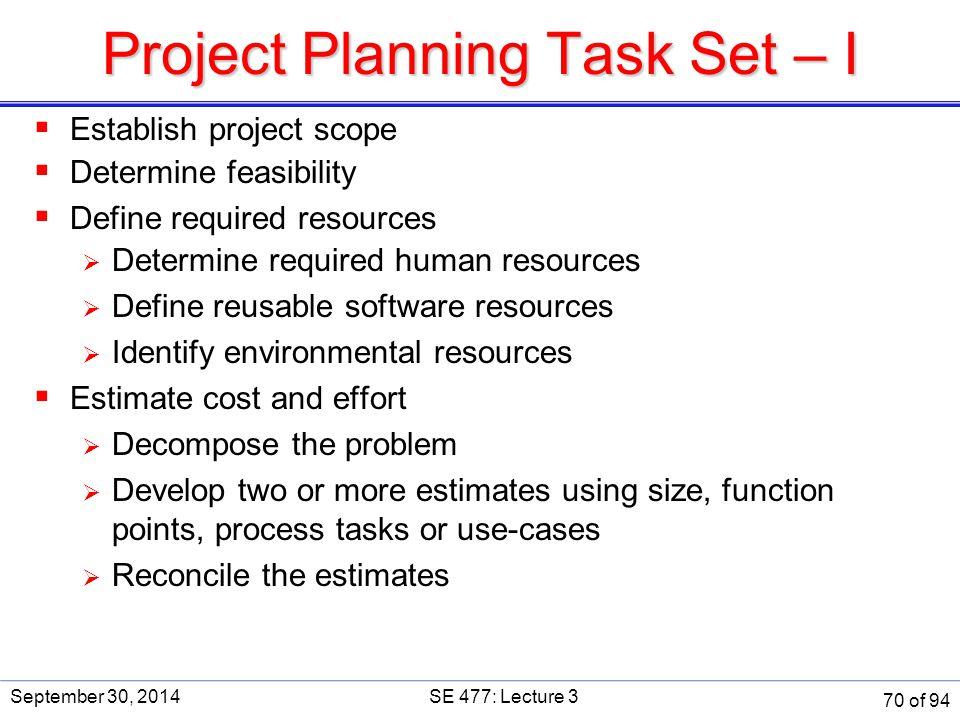 Project Planning Task Set – I