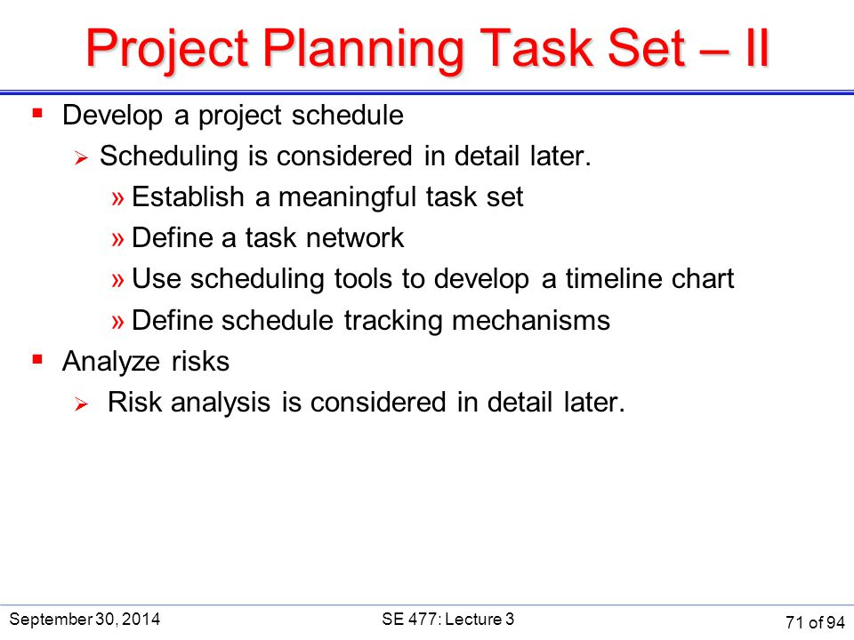 Project Planning Task Set – II