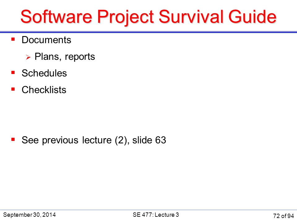 Software Project Survival Guide