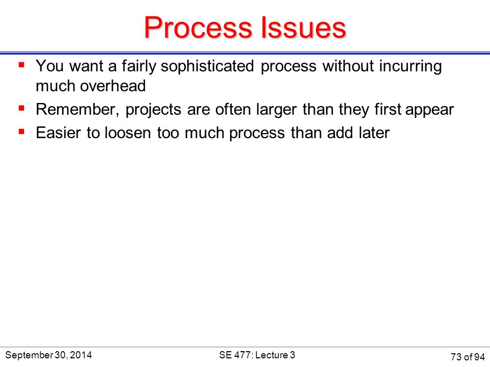 Process Issues SE 477. September 30, 2014. You want a fairly sophisticated process without incurring much overhead.