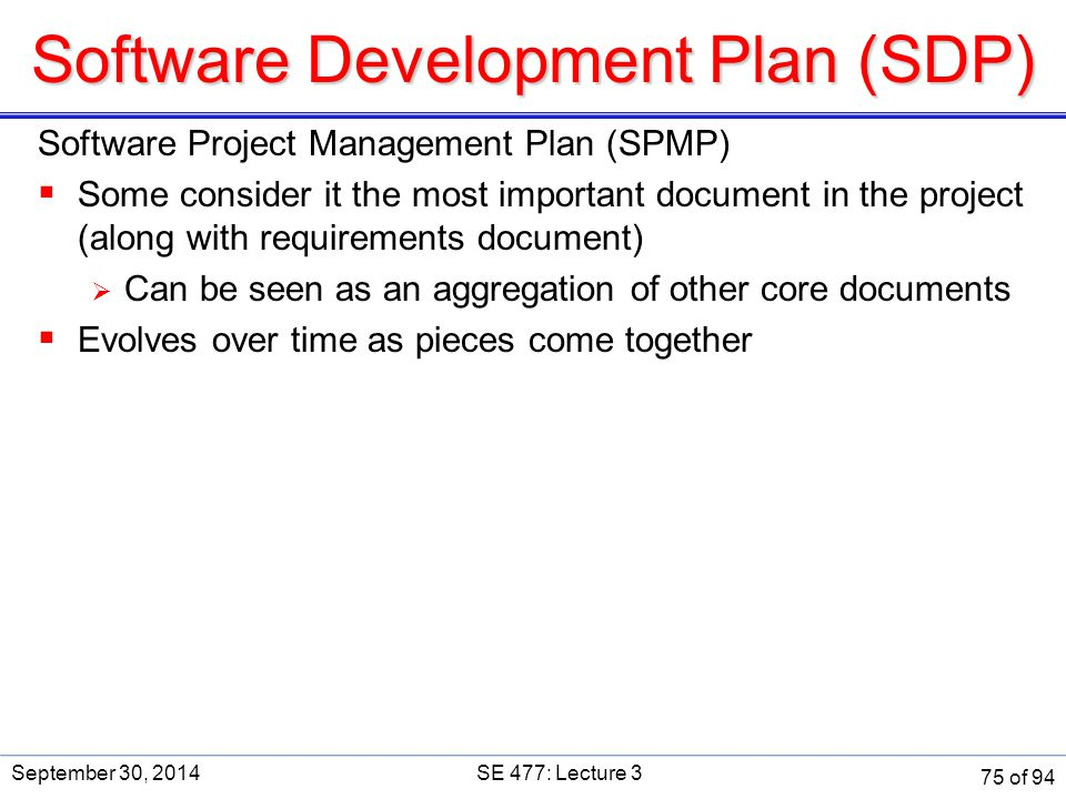 Software Development Plan (SDP)