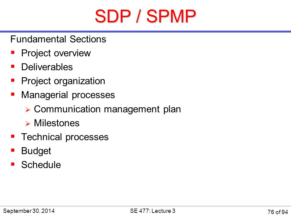 SDP / SPMP Fundamental Sections Project overview Deliverables