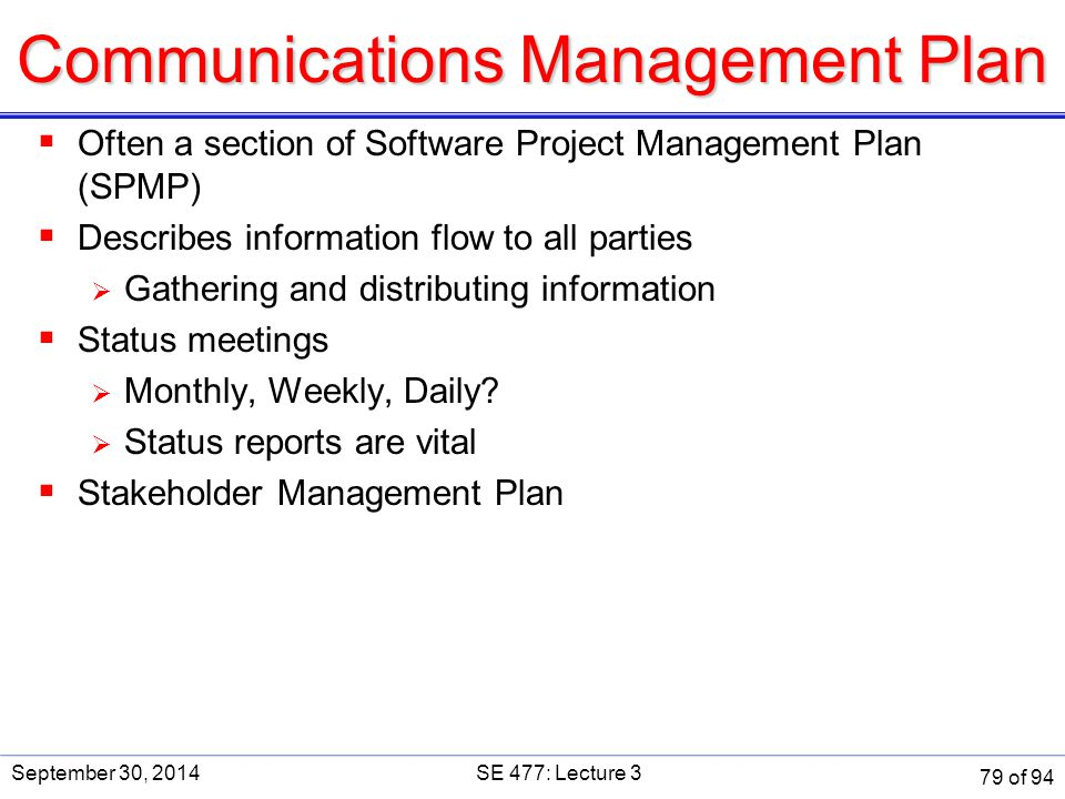 Communications Management Plan