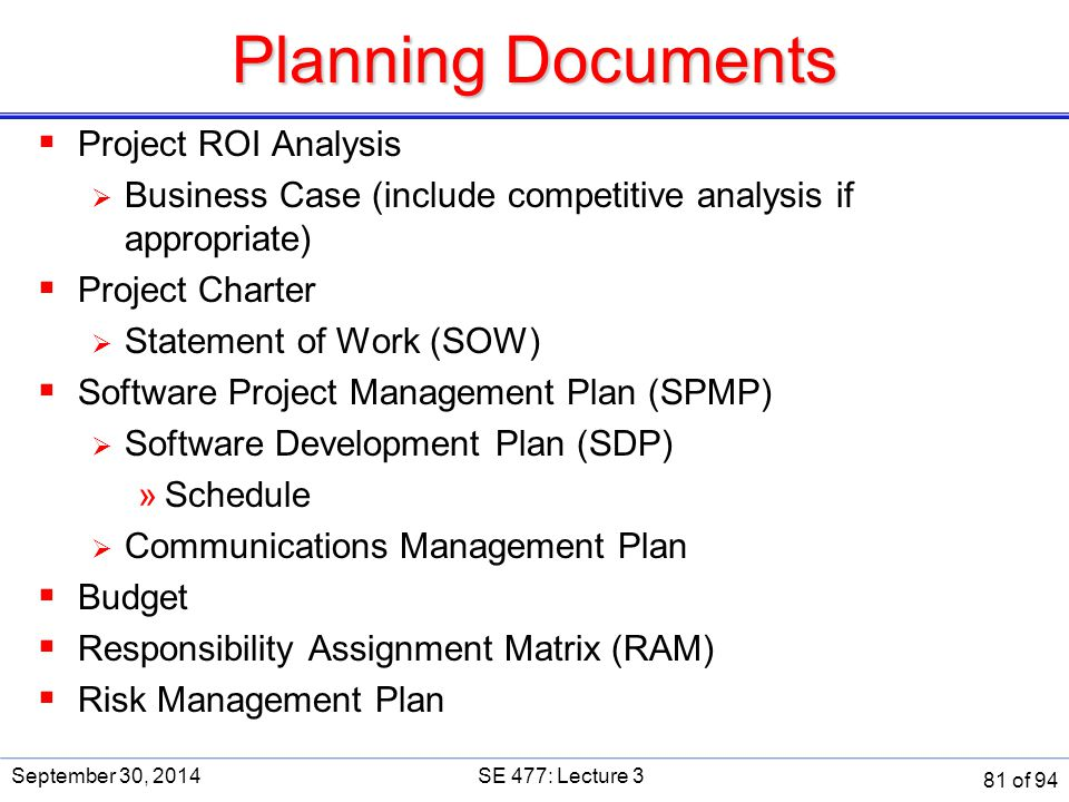 Planning Documents Project ROI Analysis