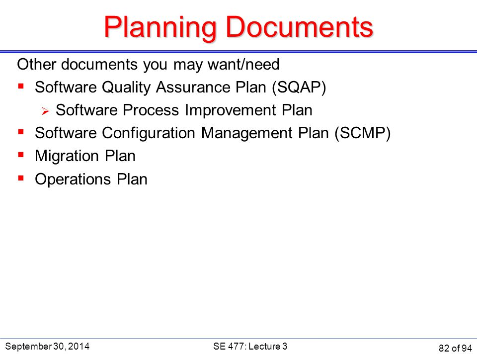 Planning Documents Other documents you may want/need