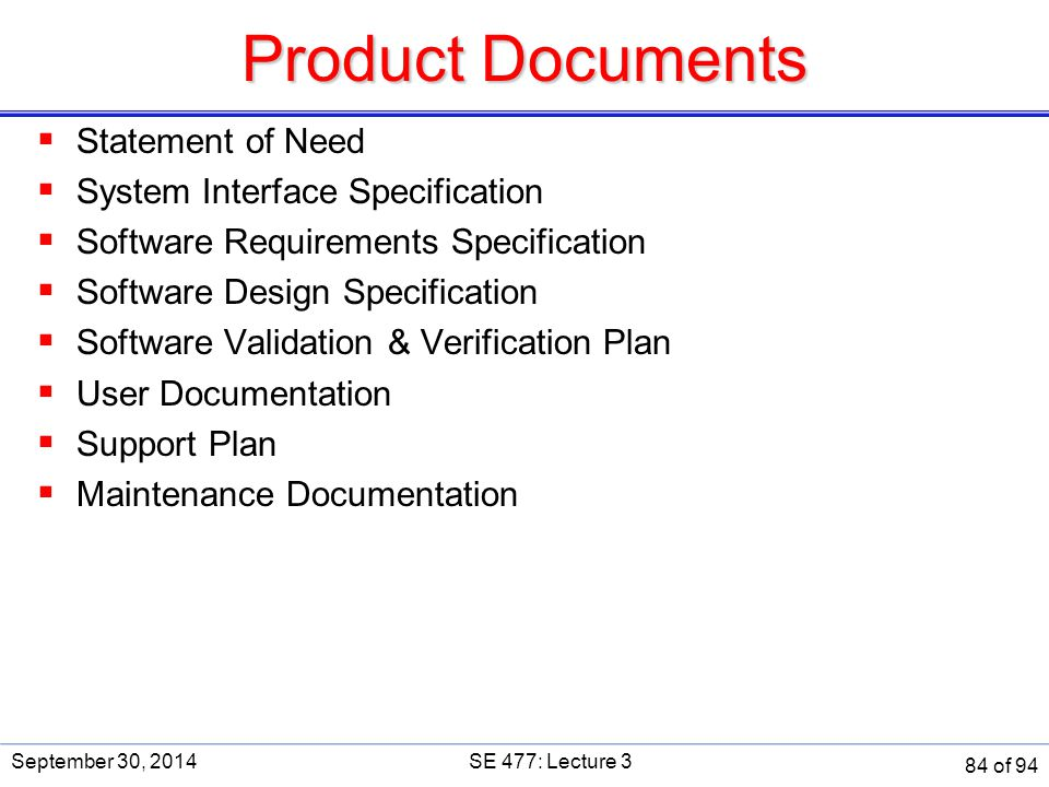 Product Documents Statement of Need System Interface Specification