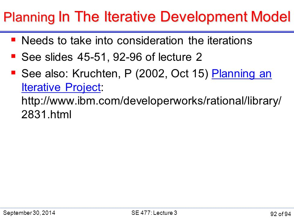 Planning In The Iterative Development Model