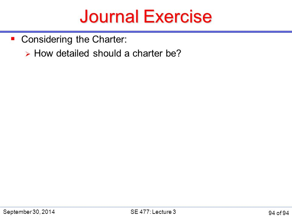 Journal Exercise Considering the Charter: