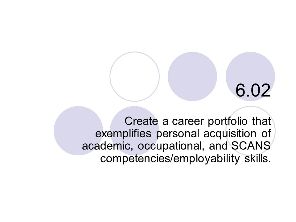 6.02 Create a career portfolio that exemplifies personal acquisition of academic, occupational, and SCANS competencies/employability skills.