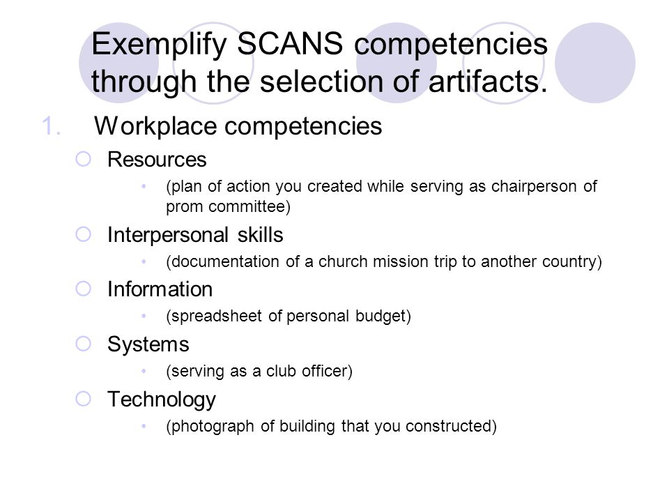 Exemplify SCANS competencies through the selection of artifacts.