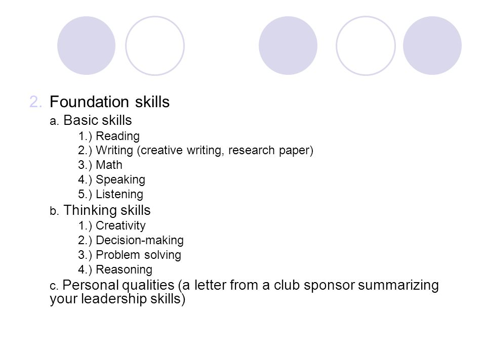 Foundation skills a. Basic skills 1.) Reading