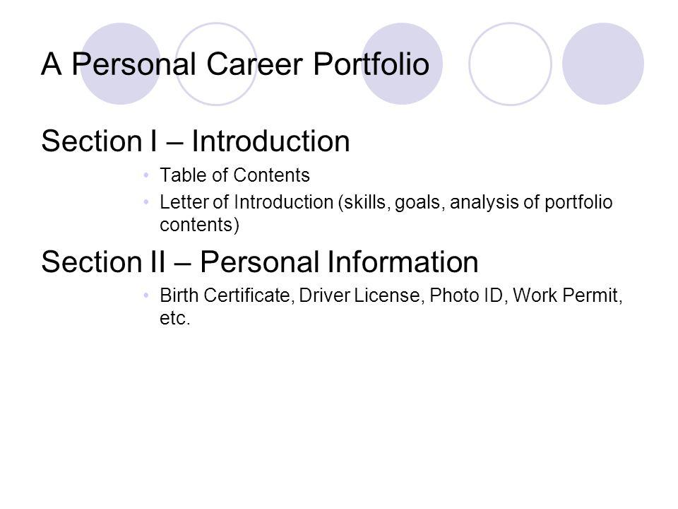 A Personal Career Portfolio