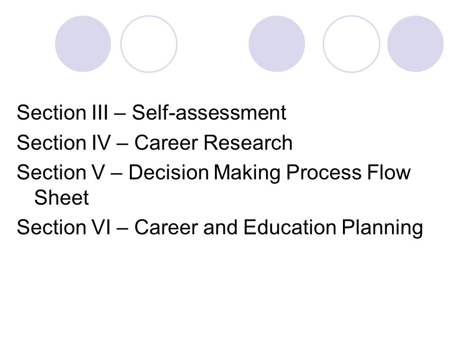 Section III – Self-assessment