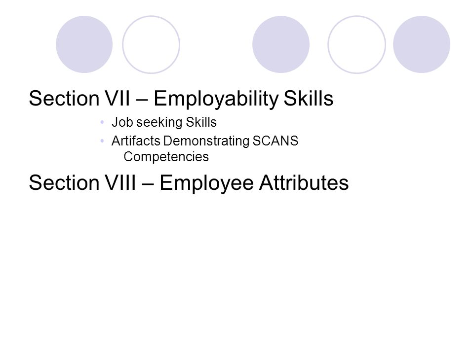 Section VII – Employability Skills