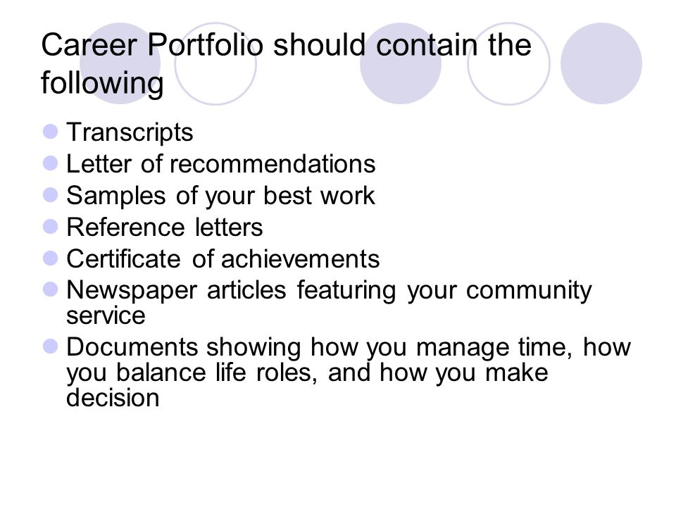 Career Portfolio should contain the following