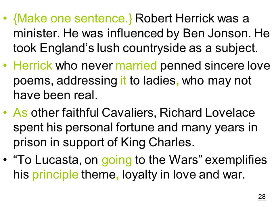 {Make one sentence. } Robert Herrick was a minister