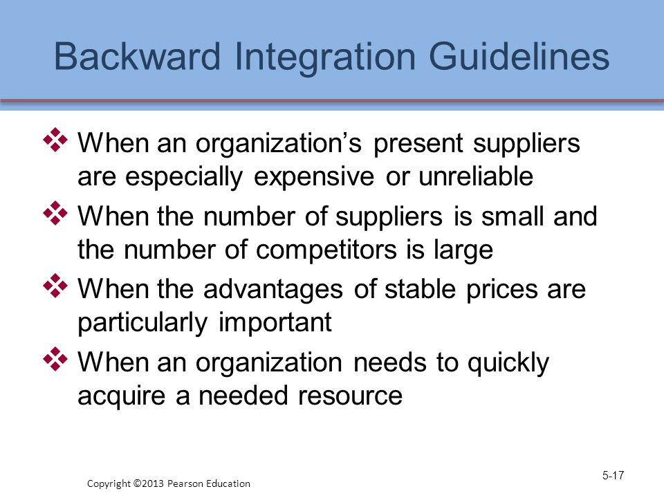 Backward Integration Guidelines