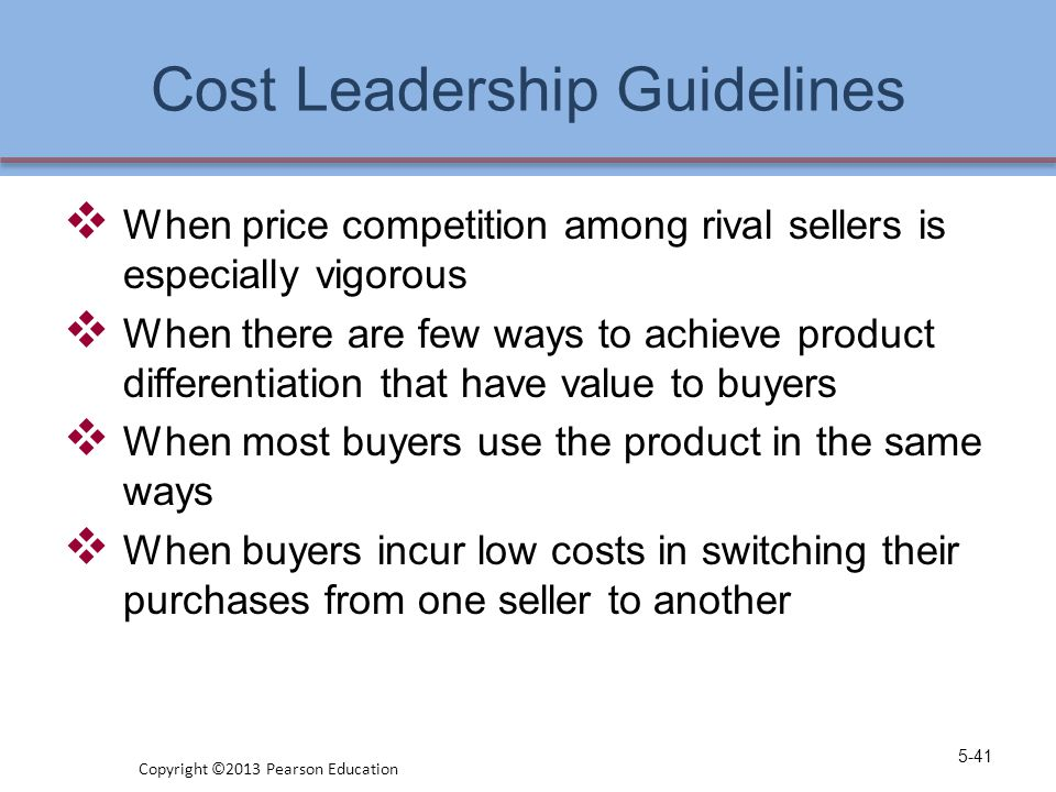 Cost Leadership Guidelines