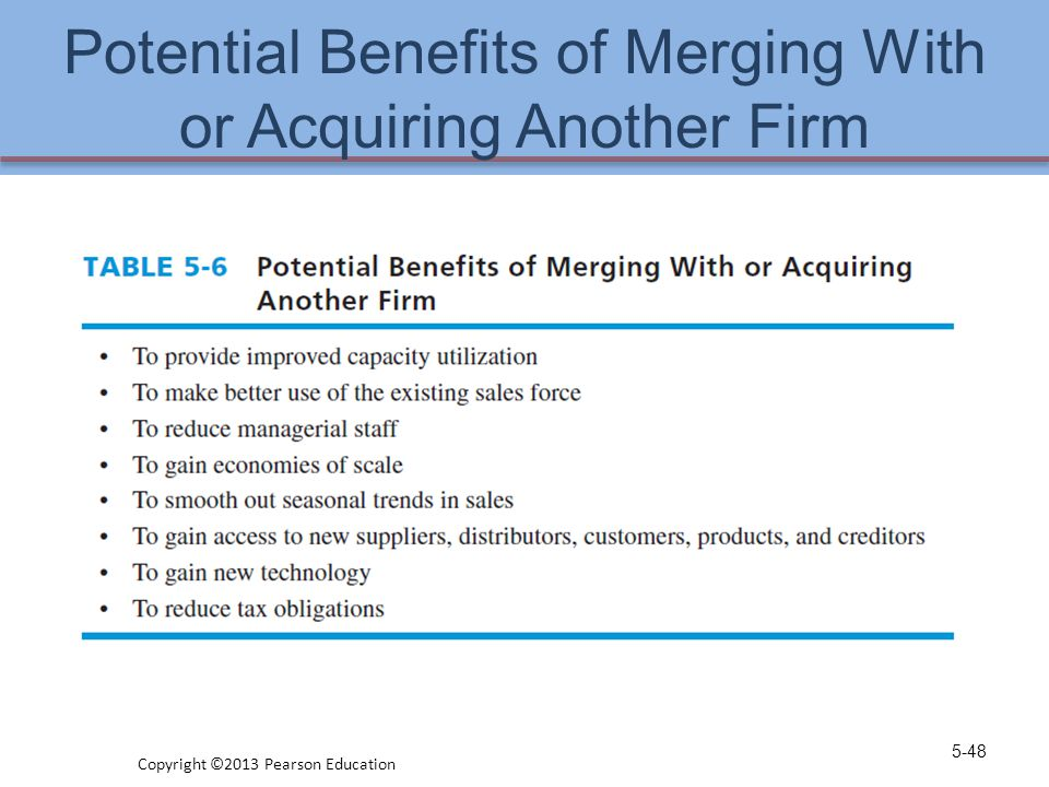 Potential Benefits of Merging With or Acquiring Another Firm