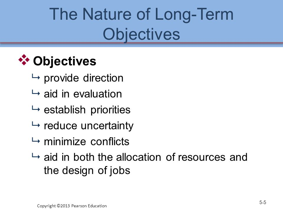 The Nature of Long-Term Objectives