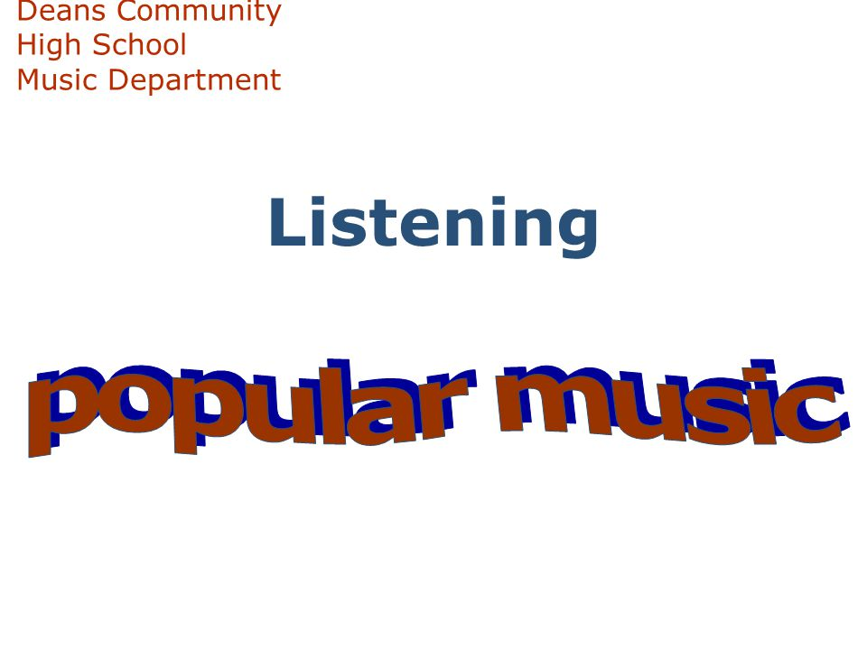 Deans Community High School Music Department