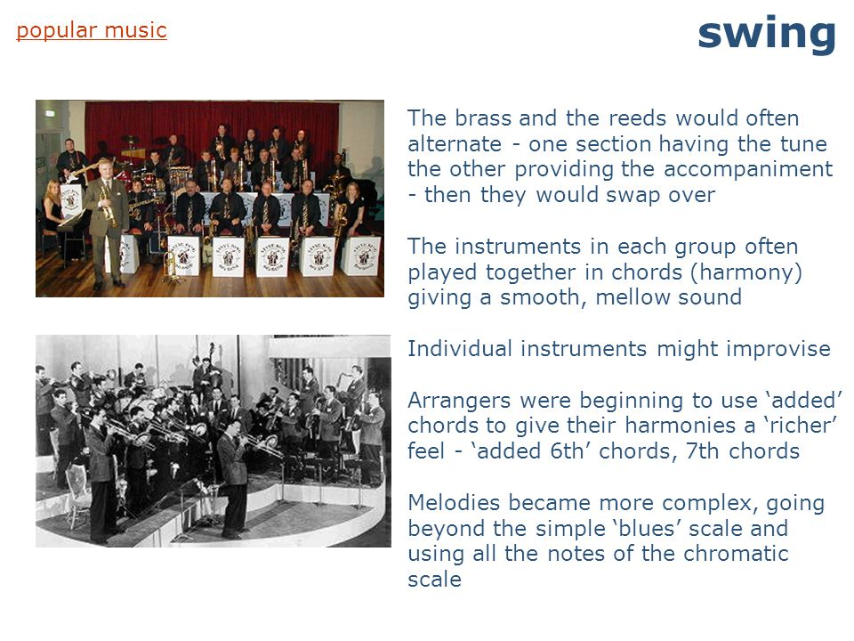 swing popular music.