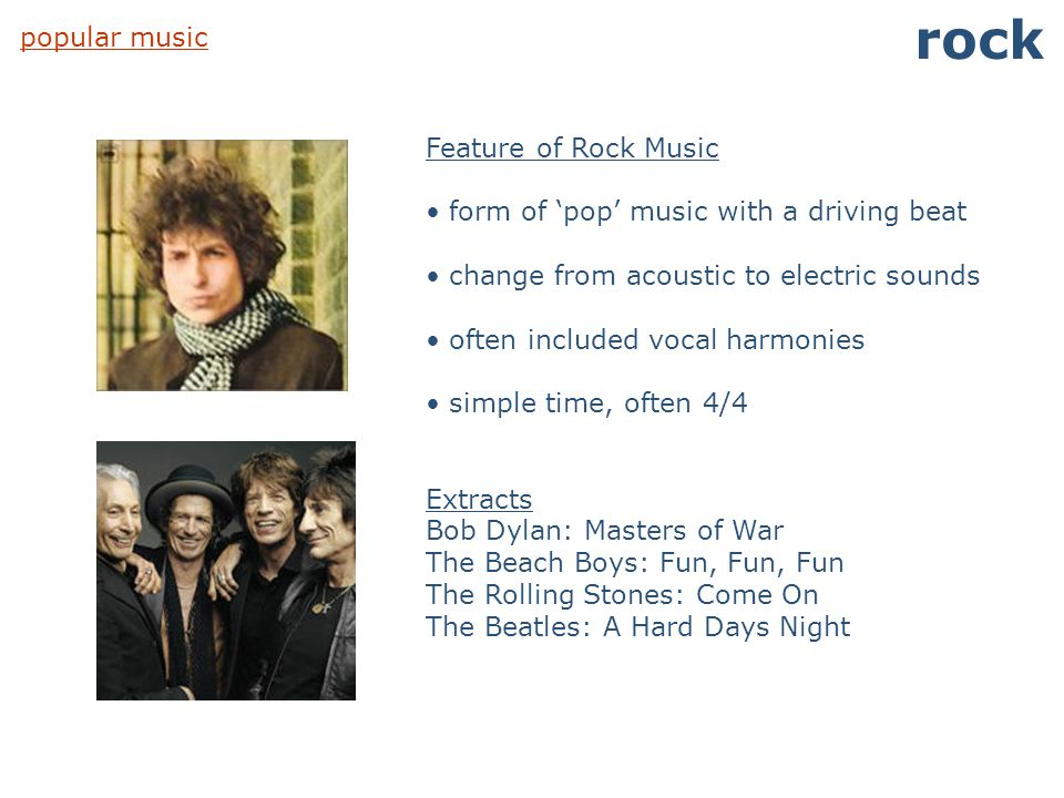 rock popular music Feature of Rock Music