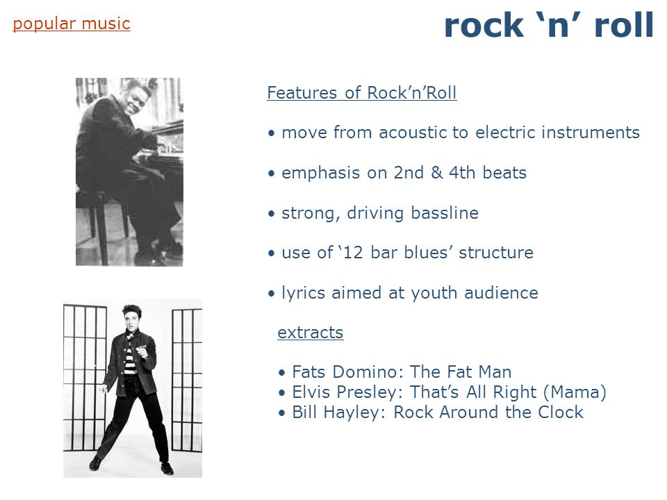 rock 'n' roll popular music Features of Rock'n'Roll