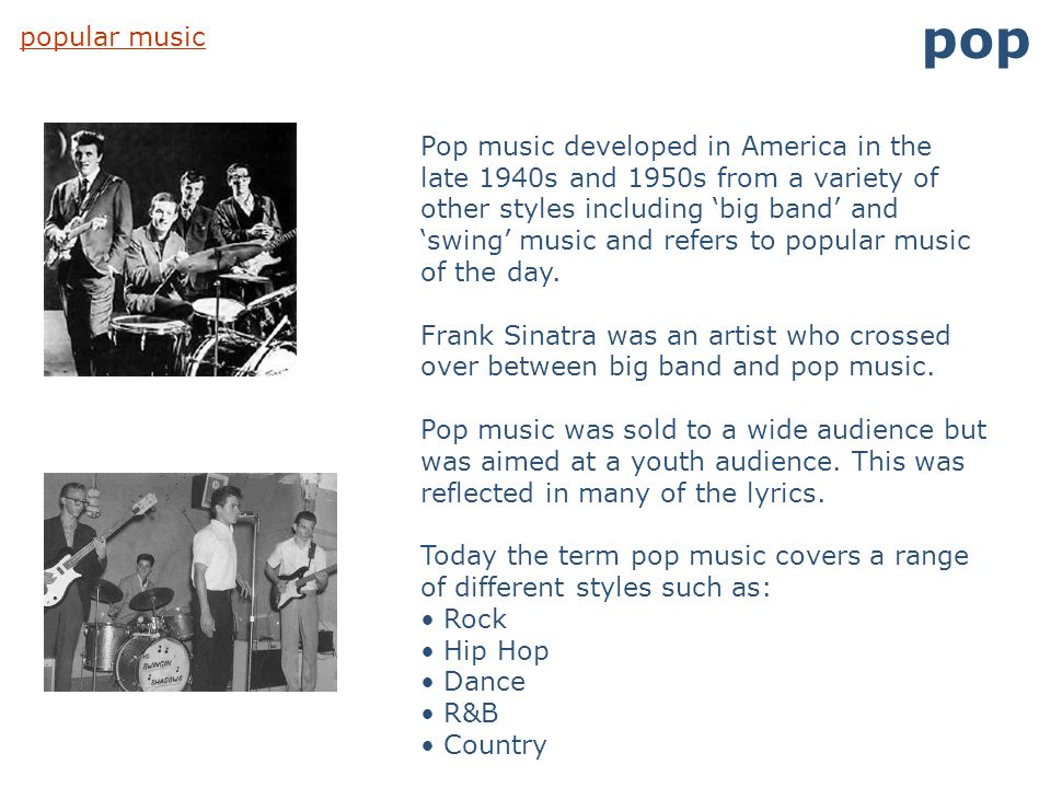pop popular music.