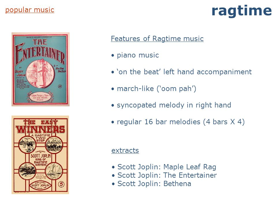 ragtime popular music Features of Ragtime music piano music