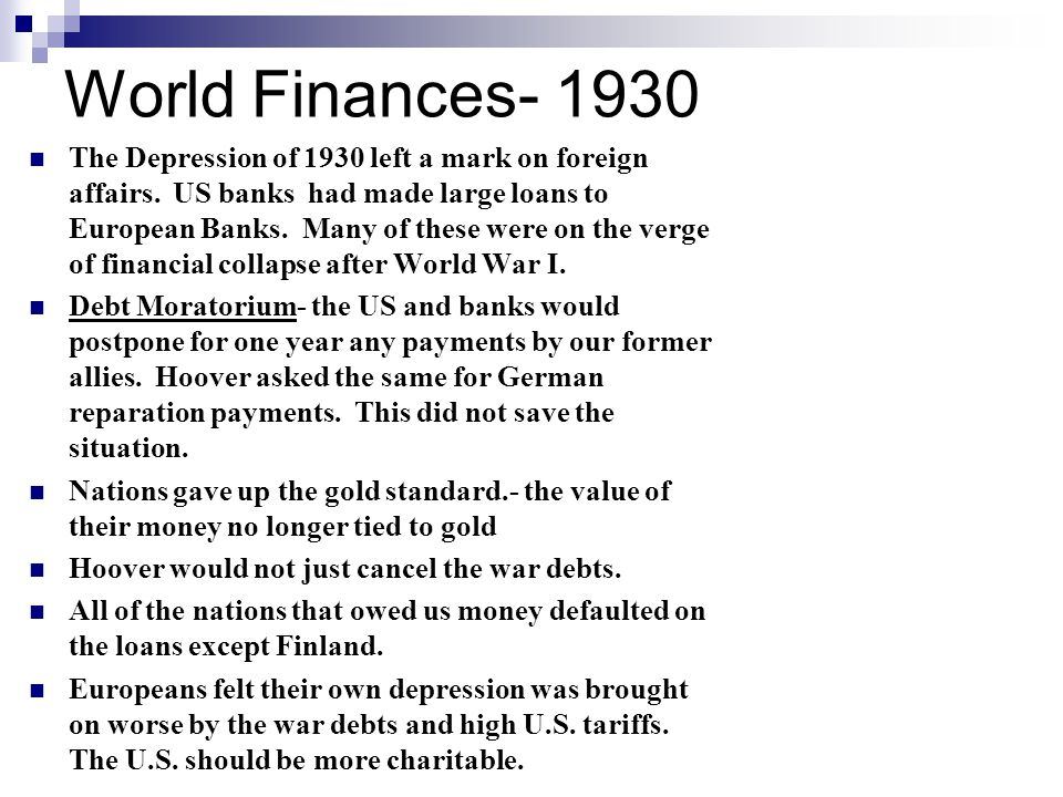 World Finances- 1930