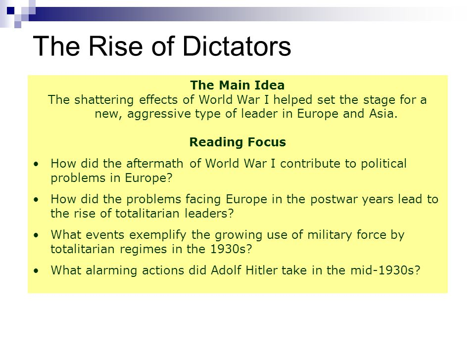 The Rise of Dictators The Main Idea