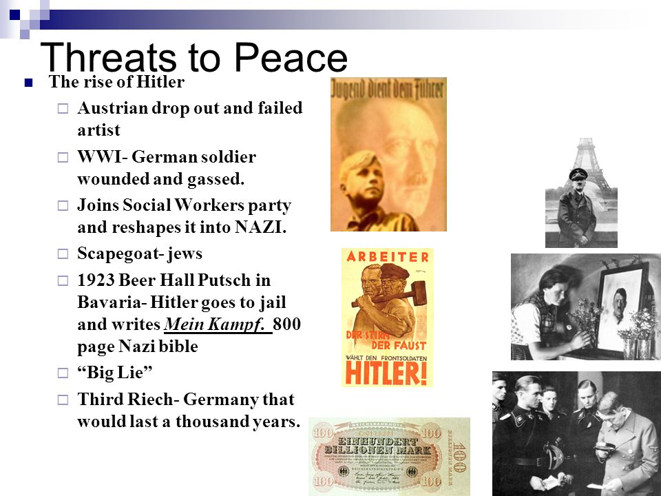 Threats to Peace The rise of Hitler