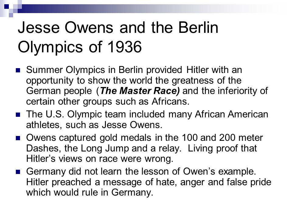Jesse Owens and the Berlin Olympics of 1936