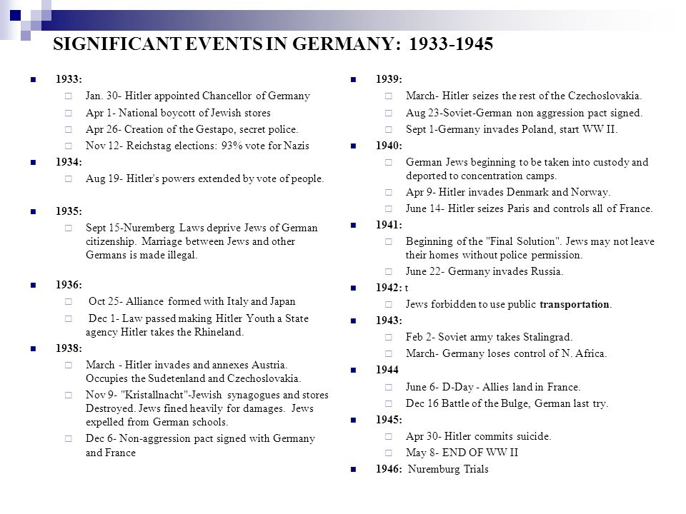 SIGNIFICANT EVENTS IN GERMANY: 1933-1945
