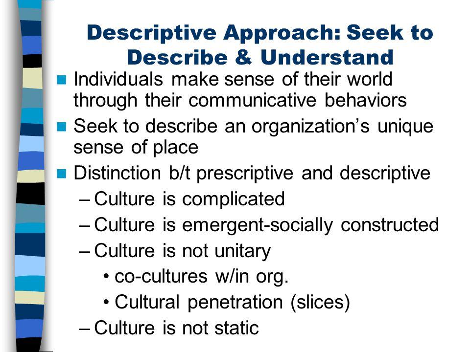 Descriptive Approach: Seek to Describe & Understand