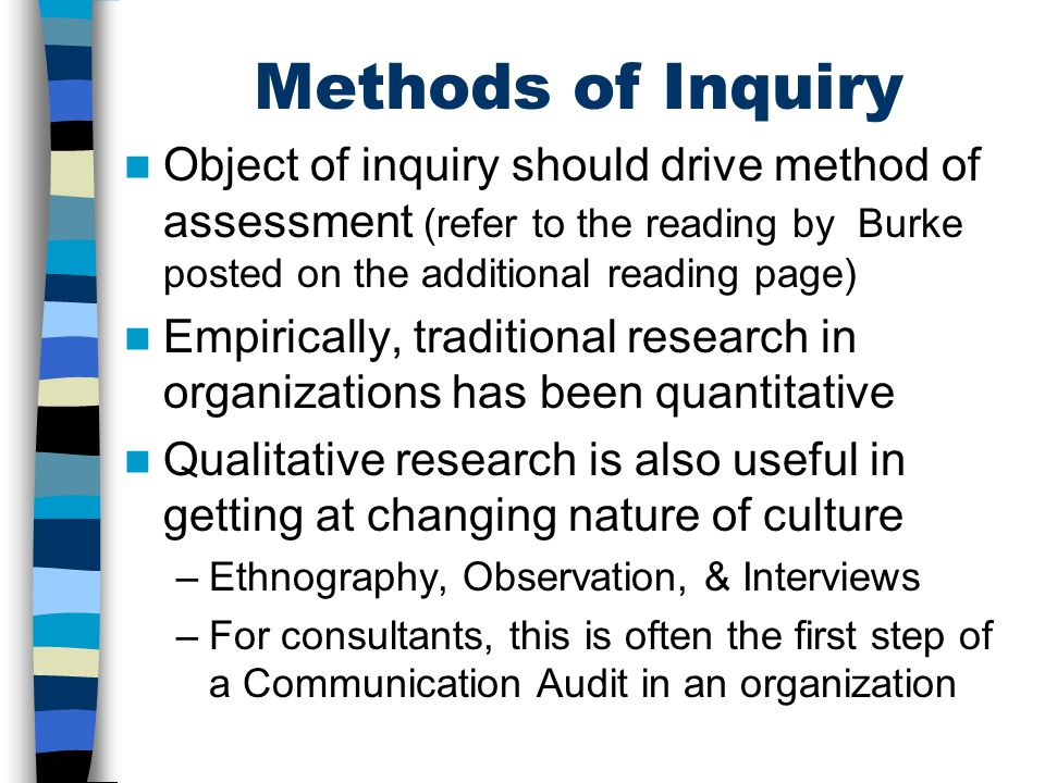 Methods of Inquiry Object of inquiry should drive method of assessment (refer to the reading by Burke posted on the additional reading page)