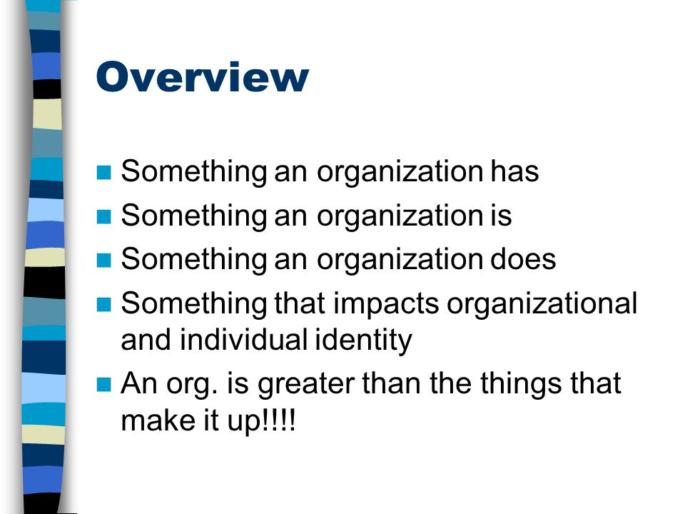 Overview Something an organization has Something an organization is