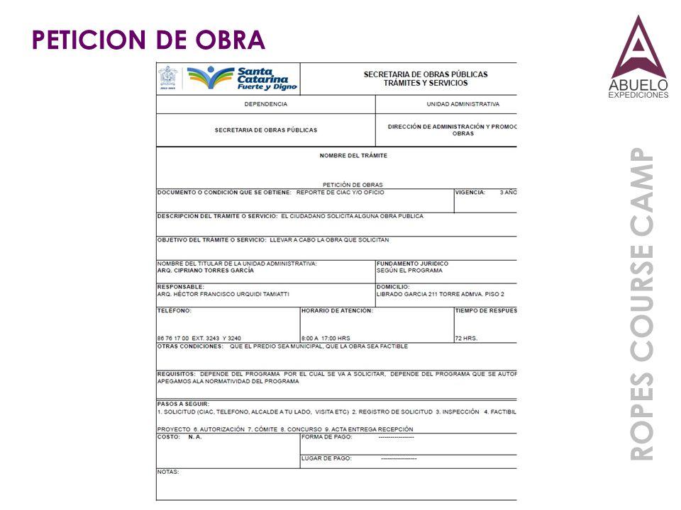 PETICION DE OBRA ROPES COURSE CAMP
