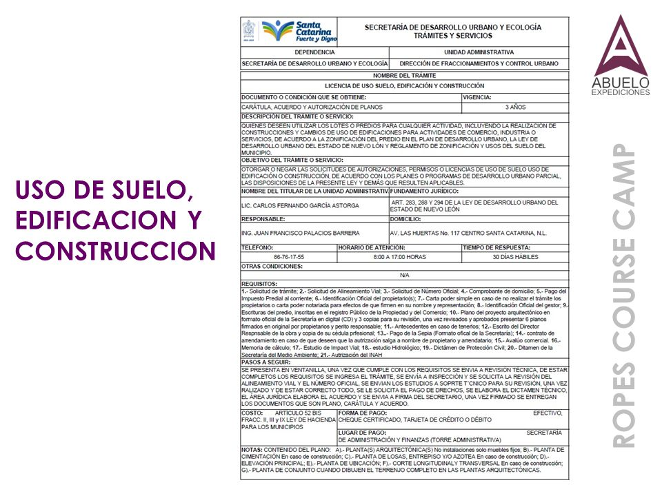USO DE SUELO, EDIFICACION Y CONSTRUCCION ROPES COURSE CAMP
