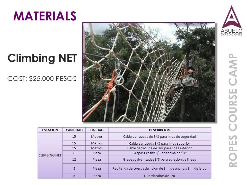 MATERIALS Climbing NET ROPES COURSE CAMP COST: $25,000 PESOS ESTACION