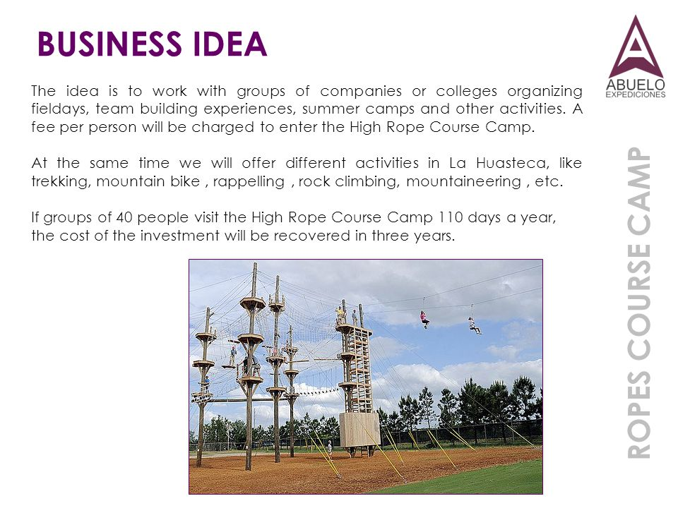 BUSINESS IDEA ROPES COURSE CAMP