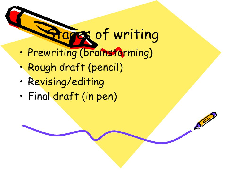 Stages of writing Prewriting (brainstorming) Rough draft (pencil)