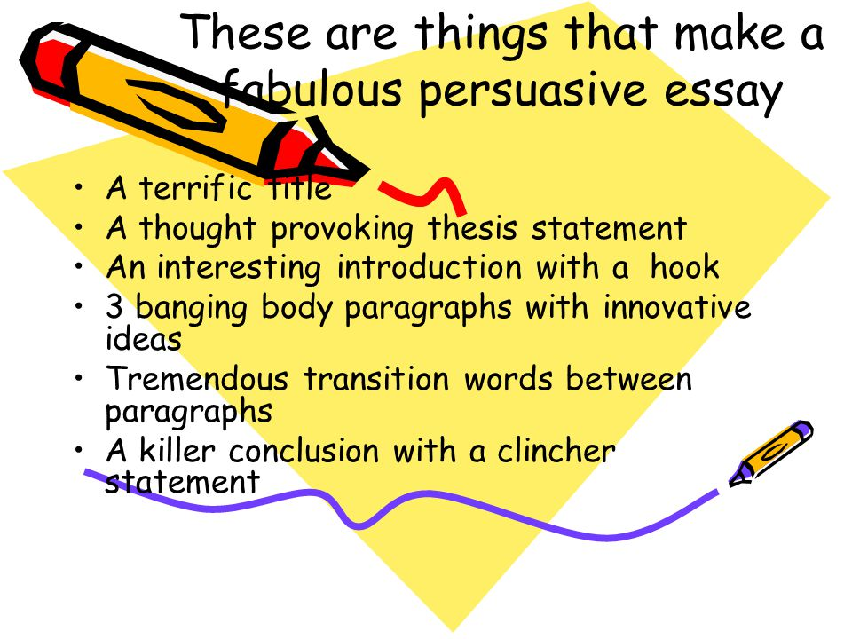 "hook transition thesis statement B) thesis: a statement that provides the subject and overall opinion of your  4)  transitions: words or phrases that connect or ""hook"" one idea to the next, both."