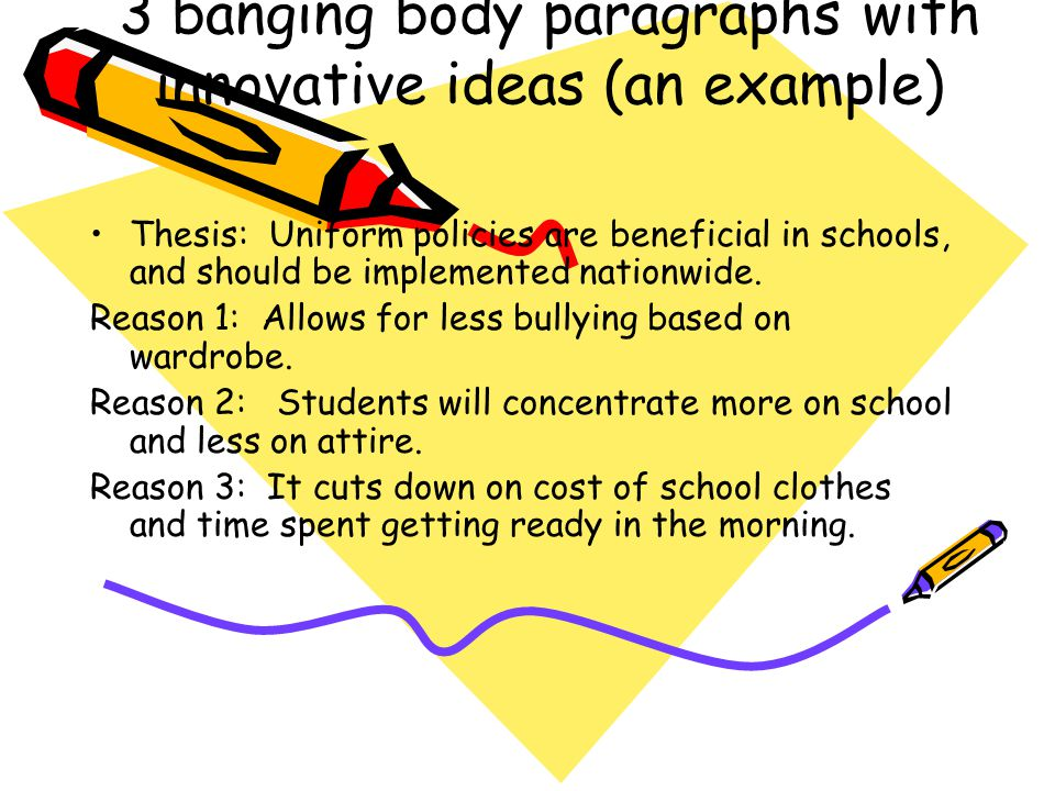 3 banging body paragraphs with innovative ideas (an example)