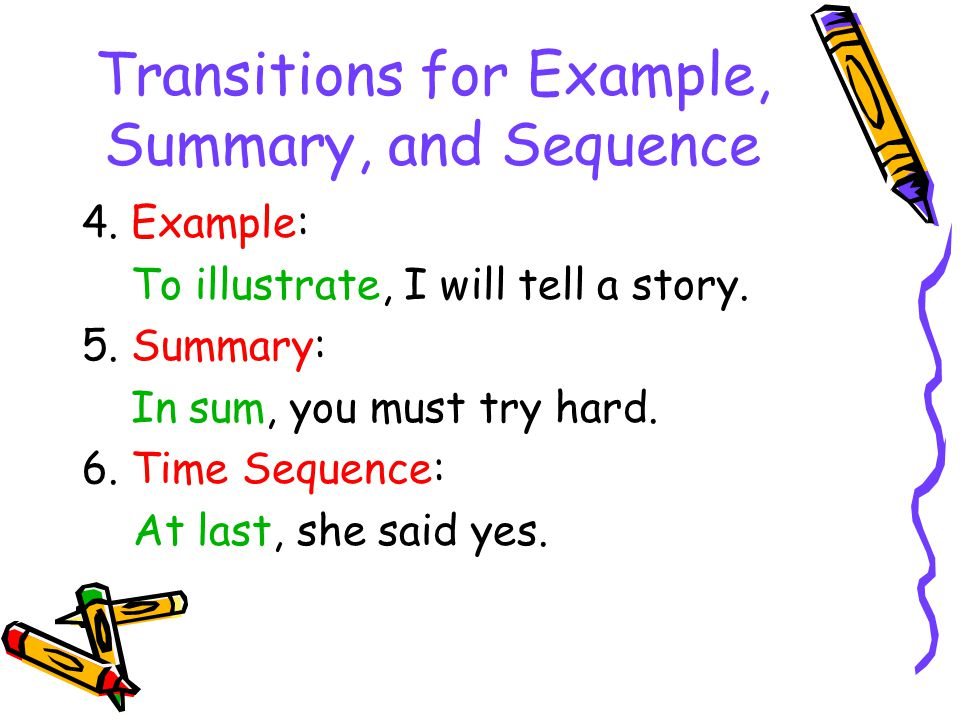 Transitions for Example, Summary, and Sequence